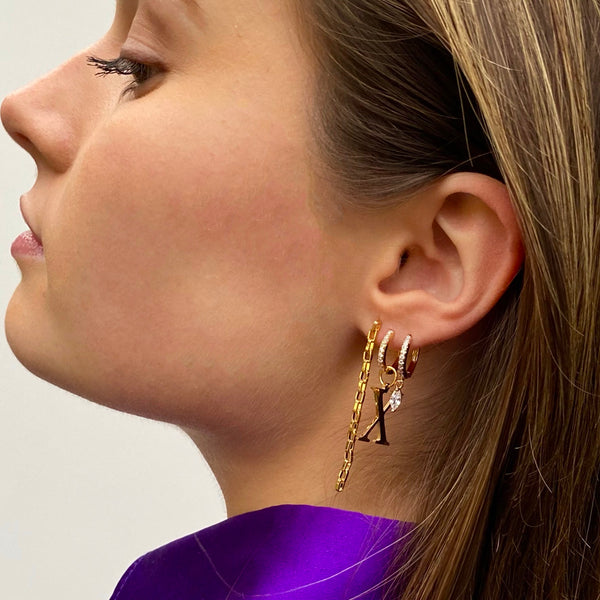 Gold Initial Earring