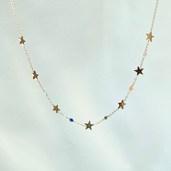 Gold Necklace Colorful Stars