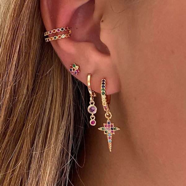 Huggie Earring Colorful Starbust
