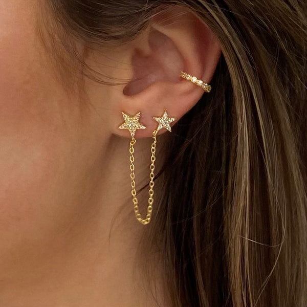 chained stars stud earring-gold-earring with two stars-swarovski-stones-the best place to buy gold fashion jewellery-webshop-sieraden-leuke sieraden-online-the best jewellery store online-most wanted jewellery-sieraden-bedels-