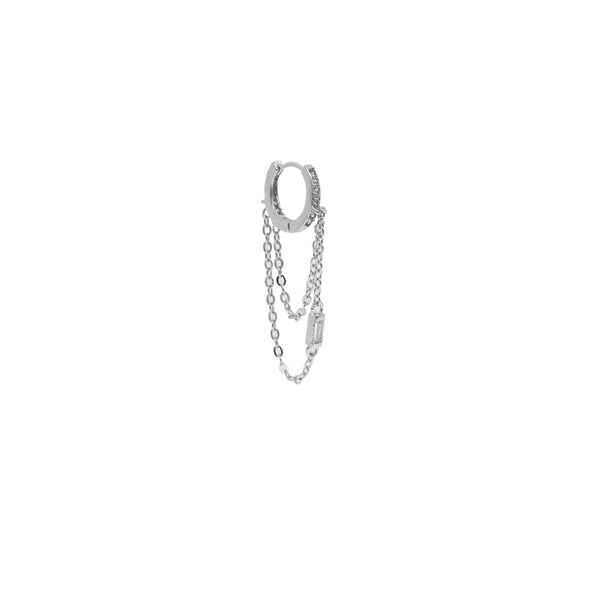 Silver Hoop Chained Baquette