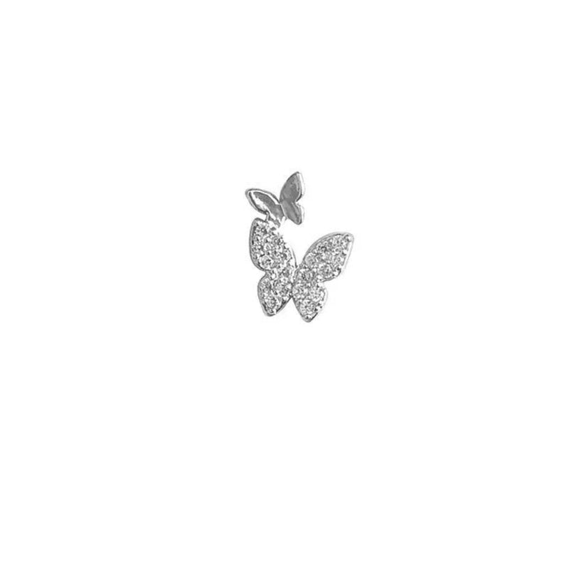 Silver Ear stud Double Butterfly