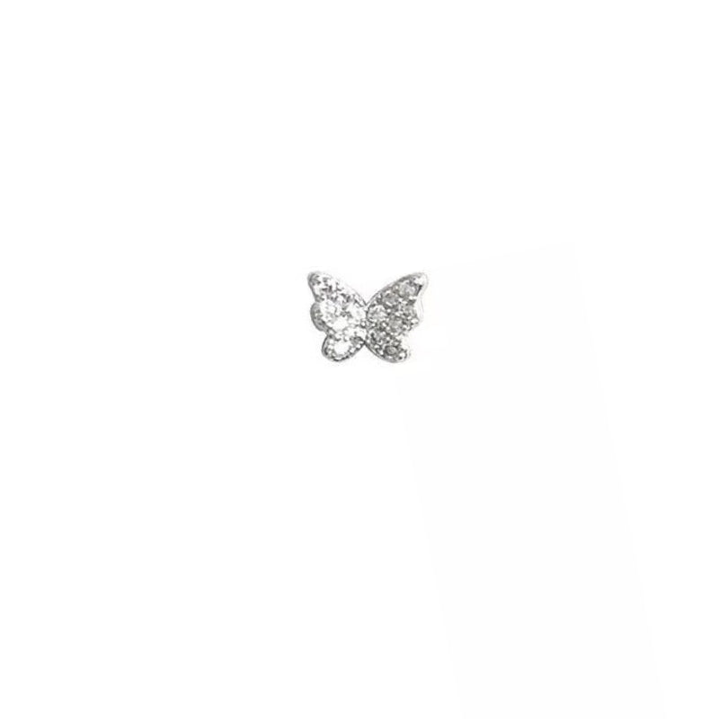Silver Ear stud Tiny Butterfly