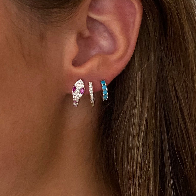 Earring Snake Pink Stripes