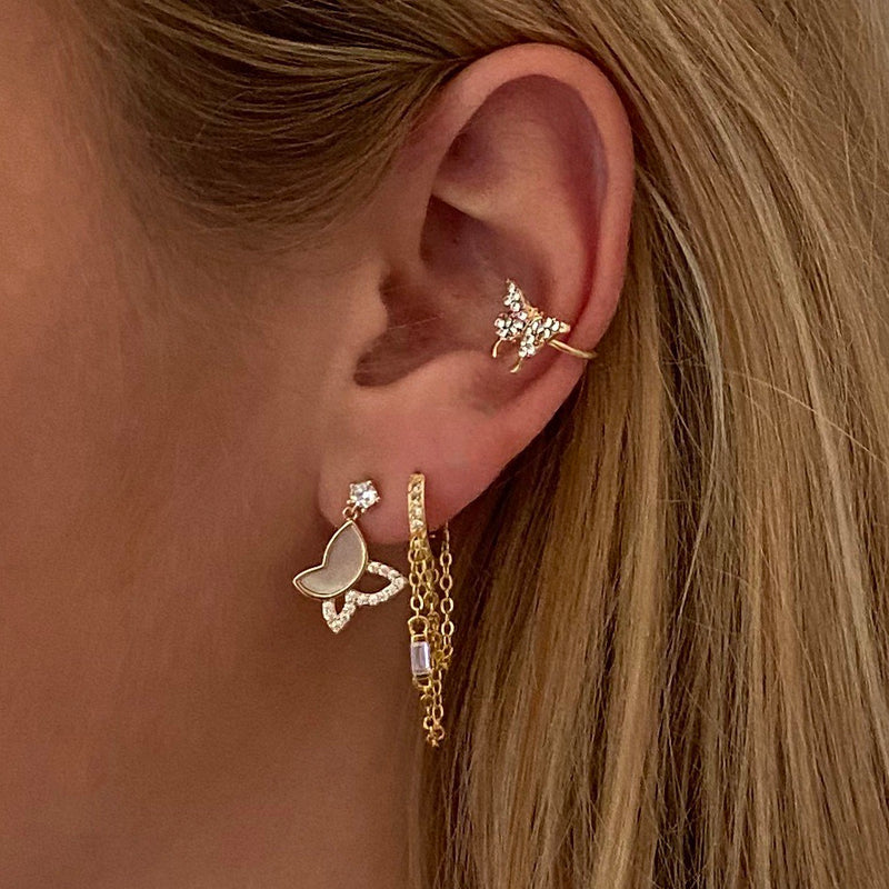 Ear Stud Shell Butterfly