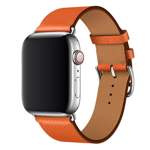 Premium Leather Strap for Apple iWatch (Tiger Orange)
