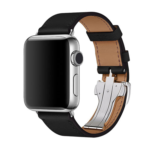 Premium Leather Strap for Apple iWatch ( Butterfly Clasp )