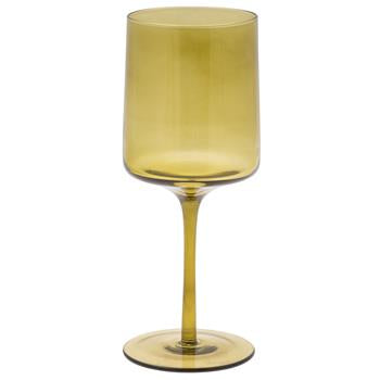 Mid Century Wine Glass Olive