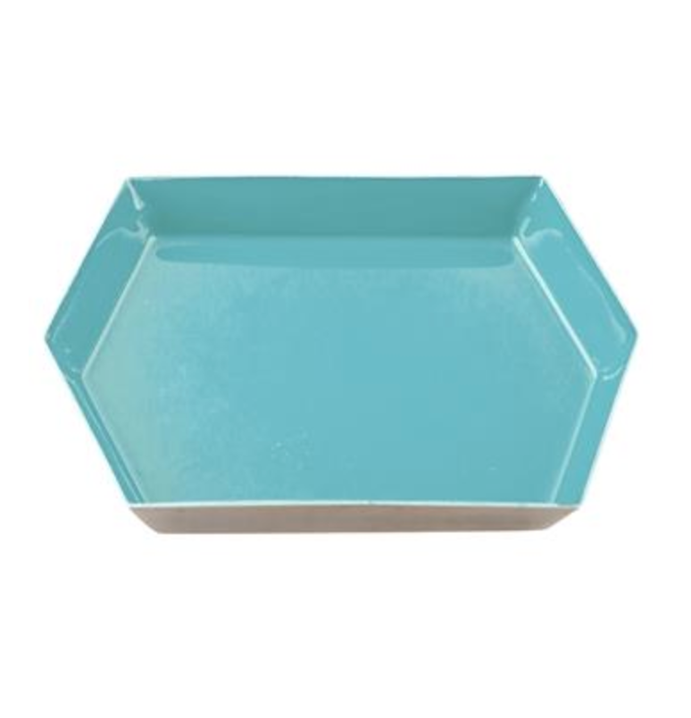 Hexagonal Enamel Tray - Teal