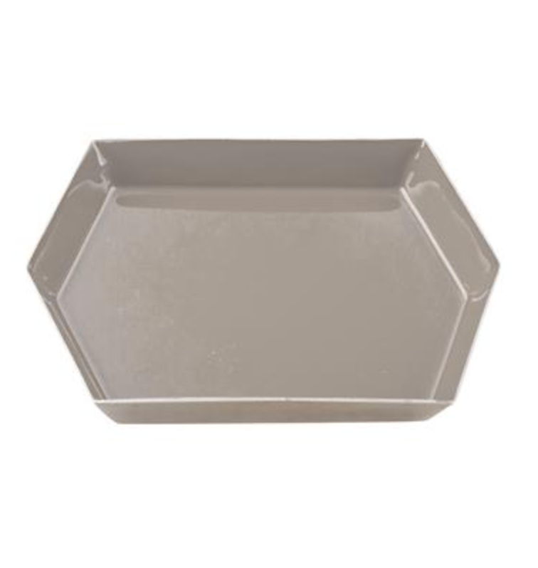 Hexagonal Enamel Tray - Beige