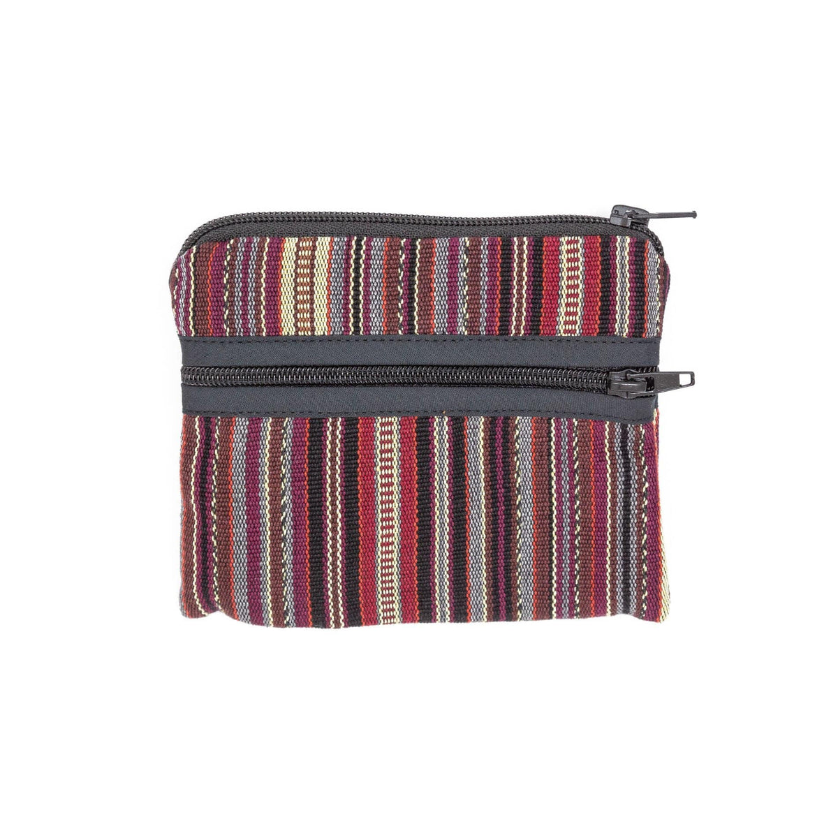 Guatemalan 3-Zip Coin Purse Earth Tone