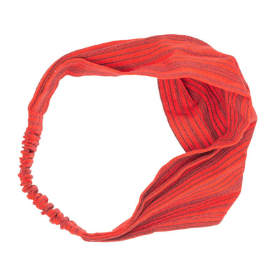 Handmade Boho Headband Red with Black Stripes