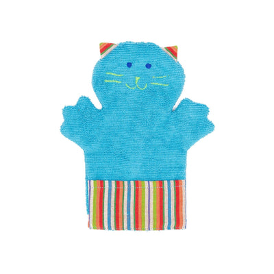 Fair Trade Puppet Washcloth Cat Turquoise