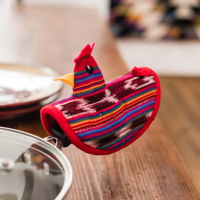 Fair Trade Handmade Chicken Festive Red In Use Lifestyle