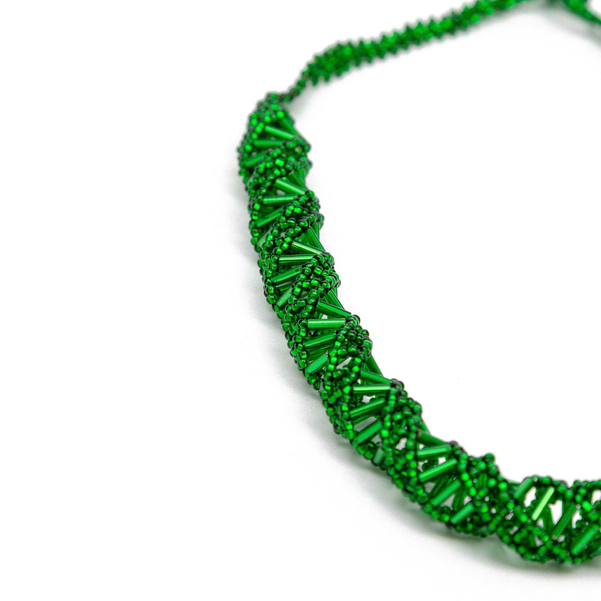 Guatemalan Double Helix Necklace Emerald Green