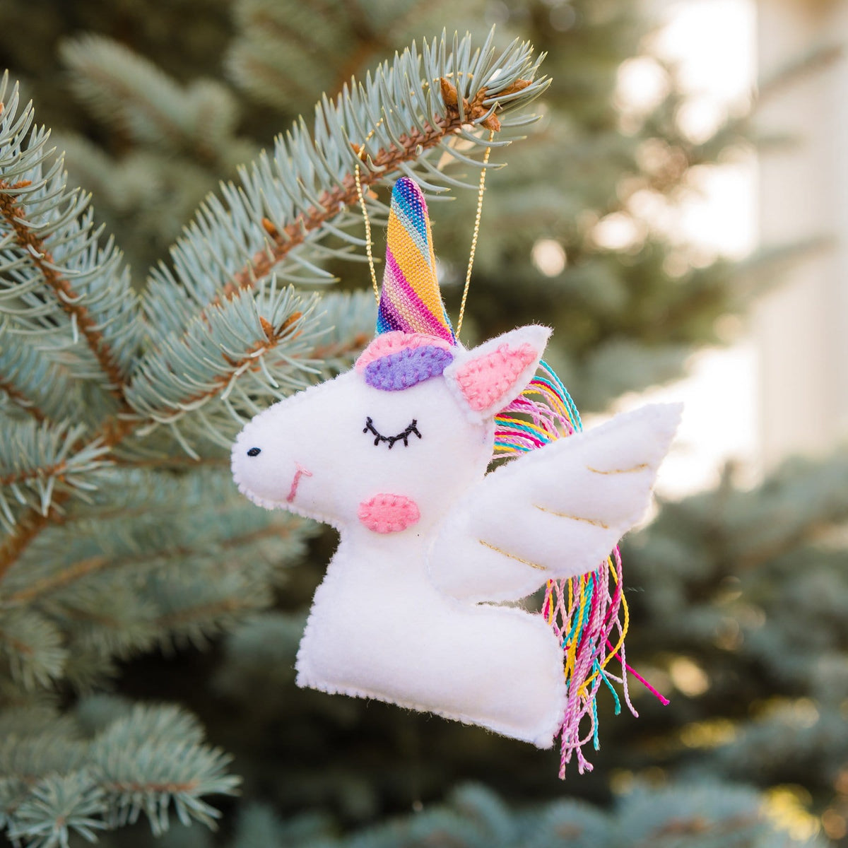 Handmade Felt Unicorn Ornament White Hanging on Tree