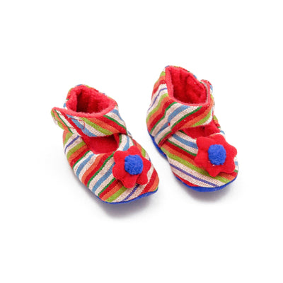 Fair Trade Flower Baby Booties Red