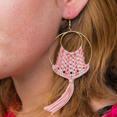 Model wearing Fringed Hoop Earrings Pink