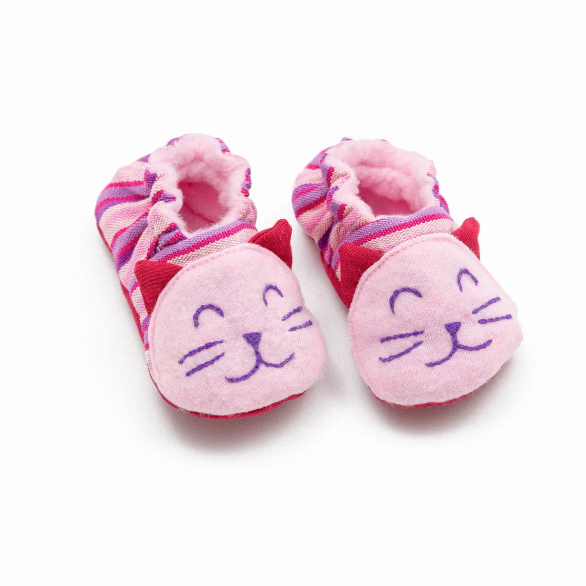 Fair Trade Kitty Baby Booties Pink