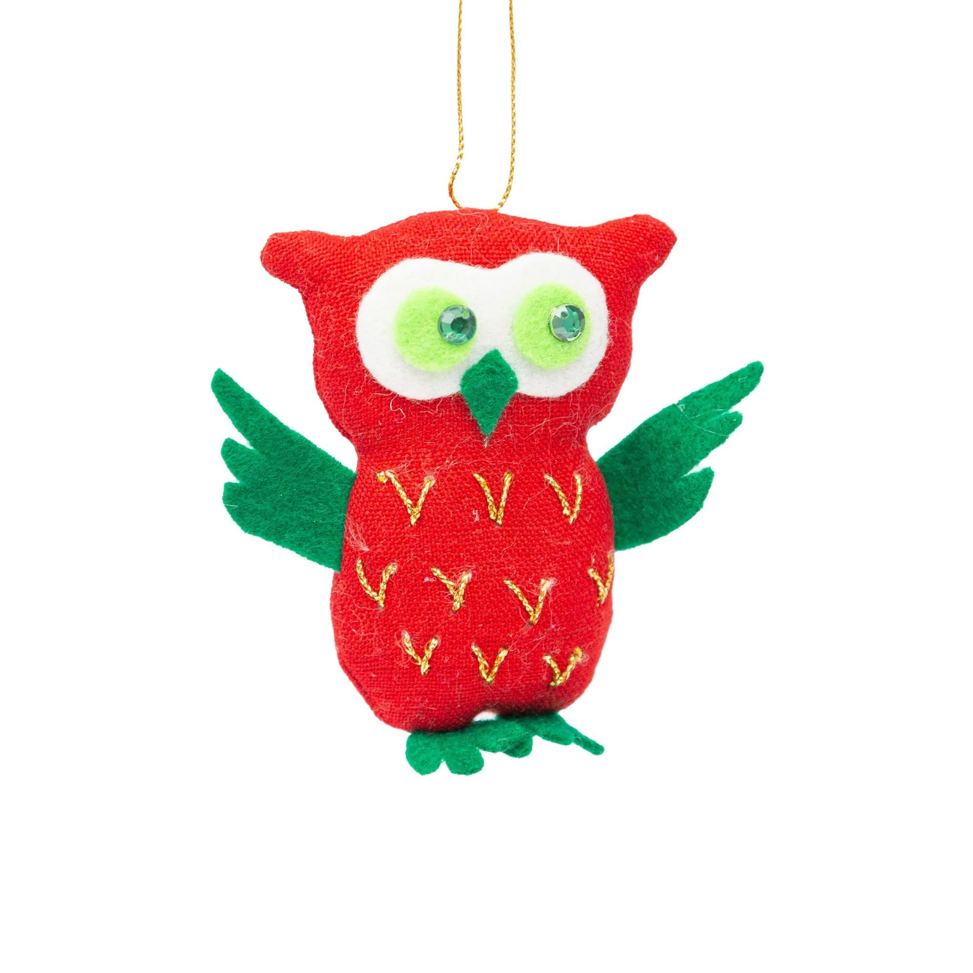 Fair Trade Owl with Feathers Ornament
