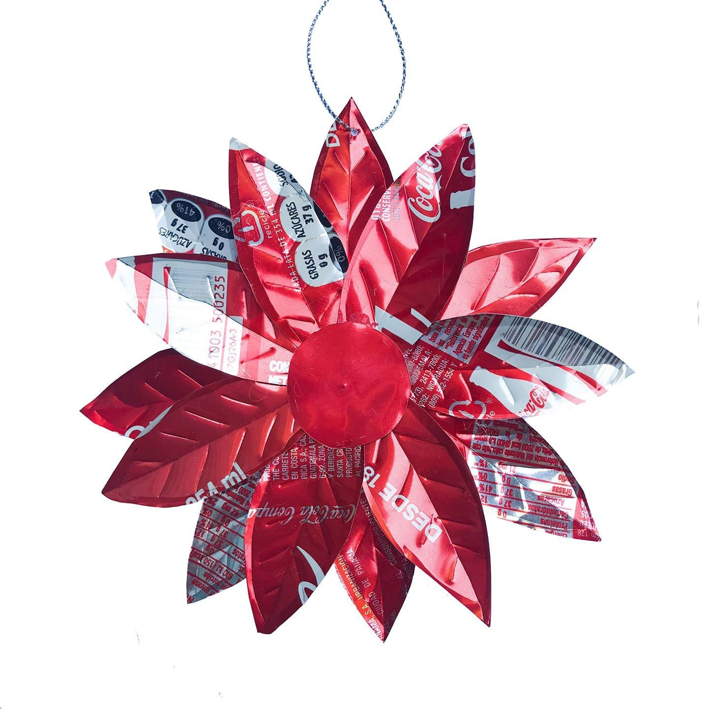Soda Can Poinsettia Ornament