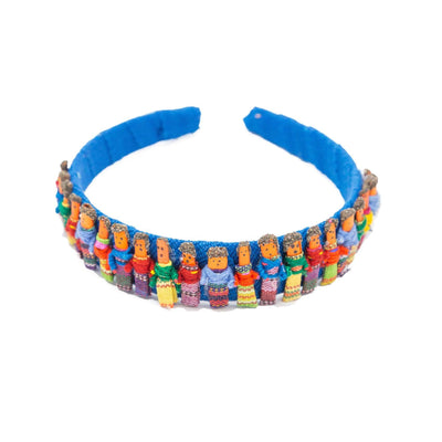 Fair Trade Worry Doll Headband Blue