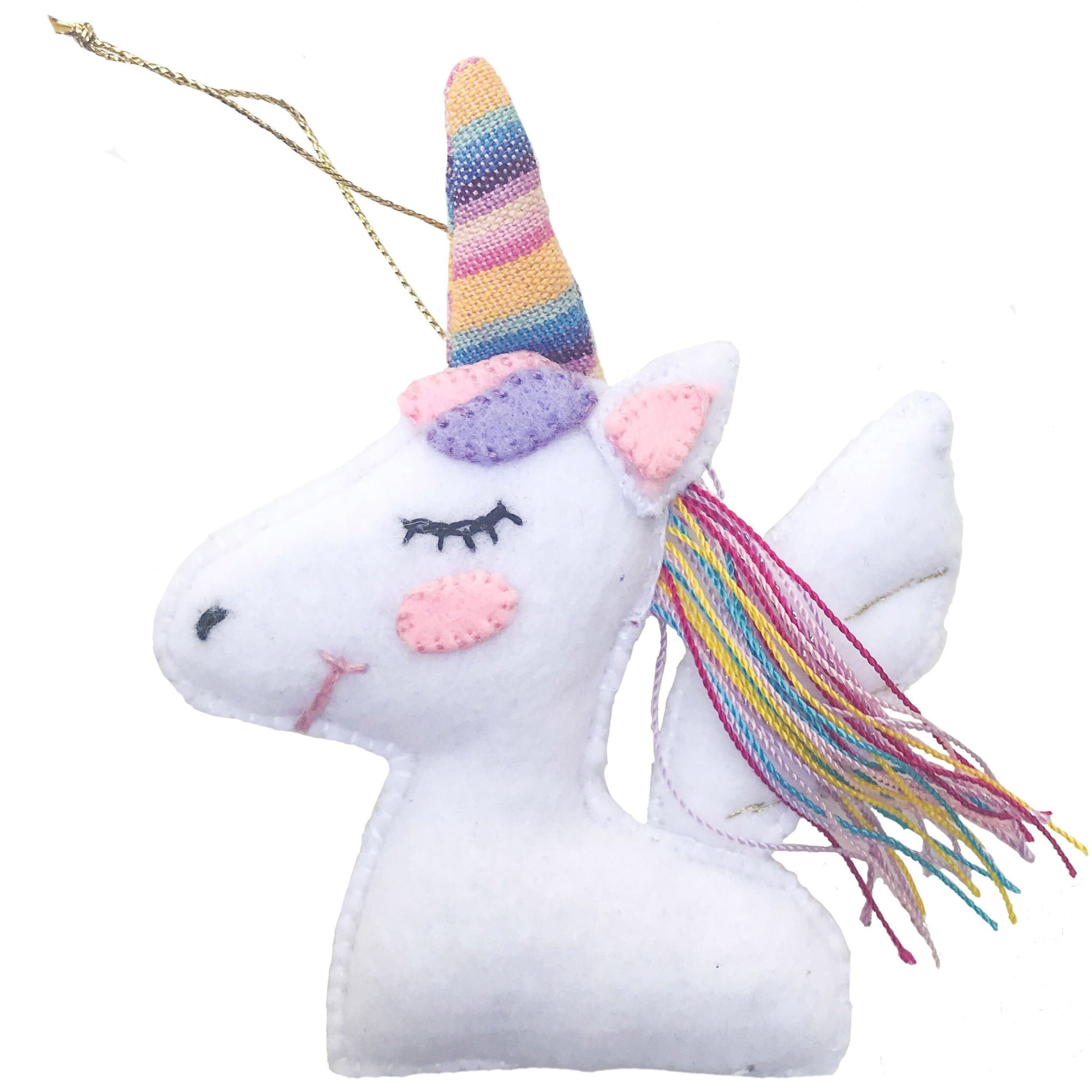 Handmade Felt Unicorn Ornament White ?id=13343896272949