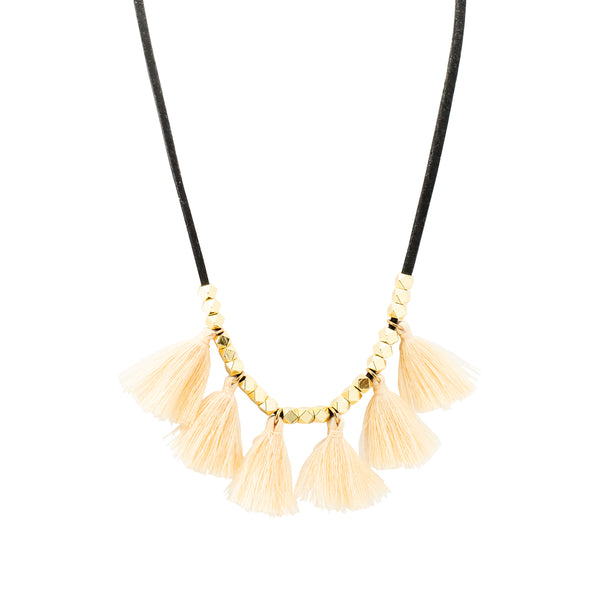 Black Suede Tassel Necklace | Beige | Bright Tassel | Handmade Fashion Jewelry | Wholesale | Marli and Lenny