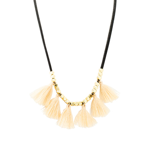 Black Suede Tassel Necklace