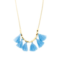 Beige Suede Tassel Necklace | Blue | Bright Tassel | Handmade Fashion Jewelry | Wholesale | Marli and Lenny