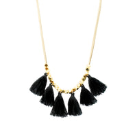 Beige Suede Tassel Necklace | Black | Bright Tassel | Handmade Fashion Jewelry | Wholesale | Marli and Lenny