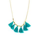 Beige Suede Tassel Necklace | Turquoise | Bright Tassel | Handmade Fashion Jewelry | Wholesale | Marli and Lenny