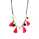 Tassel and Pompom Necklace | Pink | Bright Tassel | Handmade Fashion Jewelry | Wholesale | Marli and Lenny