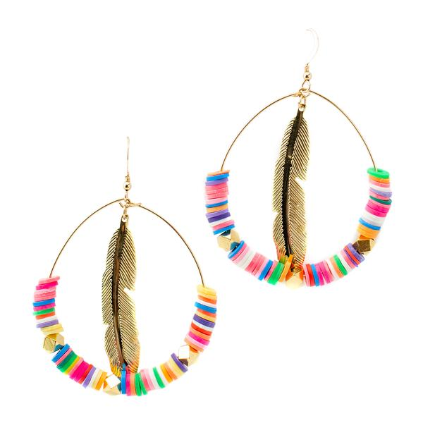 Feather Hoops | Multicolored | Neon Collection | Handmade Fashion Jewelry | Wholesale | Marli and Lenny