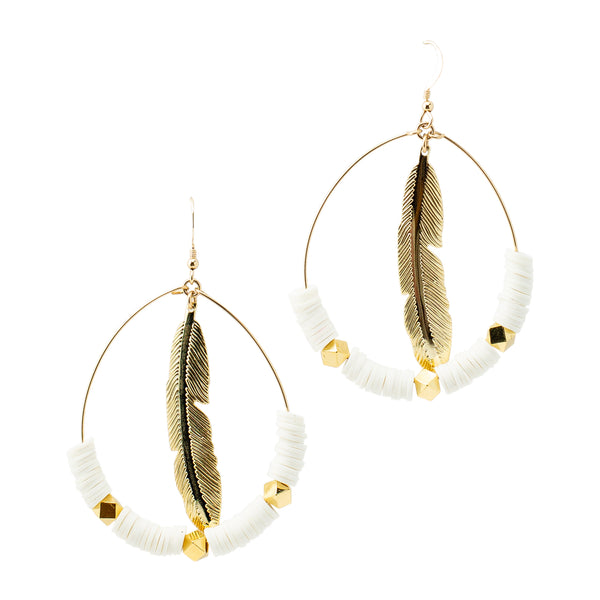 White  Feather Hoops (More Colors Available)