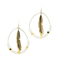 Feather Hoops | White | Neon Collection | Handmade Fashion Jewelry | Wholesale | Marli and Lenny
