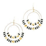 Striped Double Hoops | Black, White | Neon Collection | Handmade Fashion Jewelry | Wholesale | Marli and Lenny