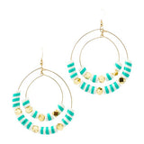 Striped Double Hoops | Green, White | Neon Collection | Handmade Fashion Jewelry | Wholesale | Marli and Lenny