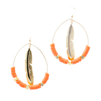 Feather Hoops | Coral | Neon Collection | Handmade Fashion Jewelry | Wholesale | Marli and Lenny