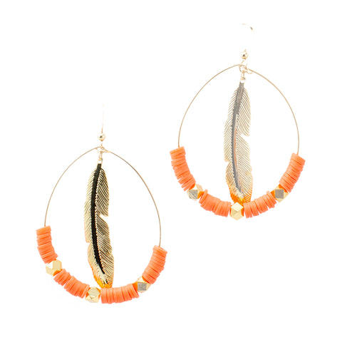 Coral Feather Hoops