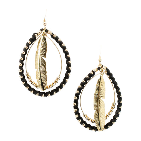 Black Feather Hoops