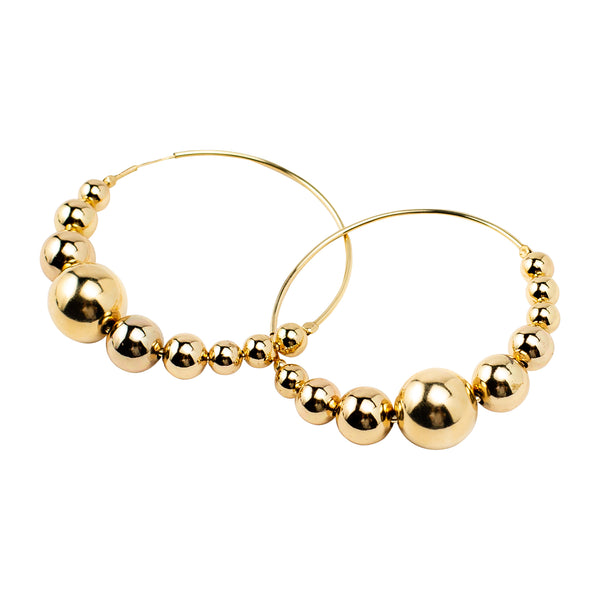 Large Beaded Hoop Earrings | Gold Bead Collection | Handmade Fashion Jewelry | Wholesale | Marli and Lenny