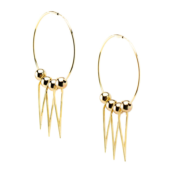 Hoop Earrings | Spikes | Gold Bead Collection | Handmade Fashion Jewelry | Wholesale | Marli and Lenny