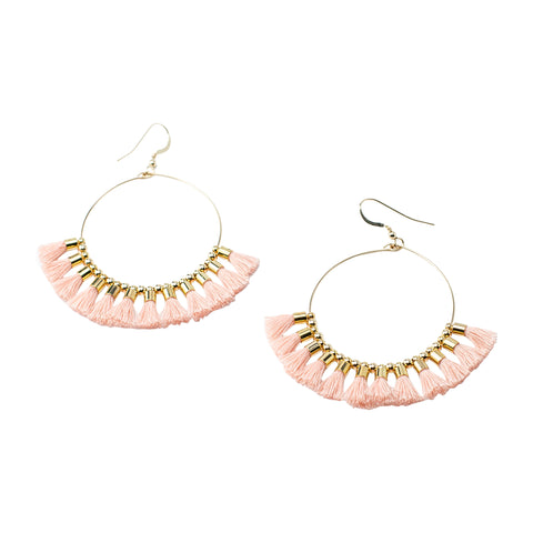 Blush Single Tassel  Hoops