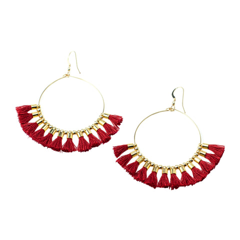 Red Single Tassel  Hoops