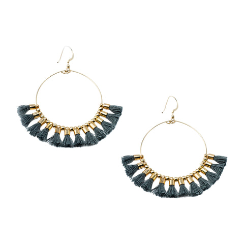 Gray Single Tassel  Hoops
