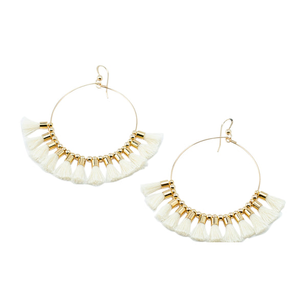 White Single Tassel  Hoops