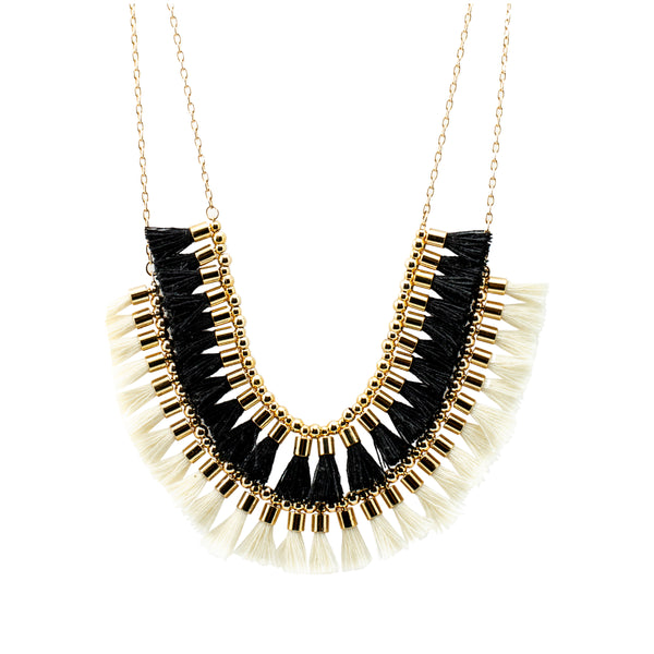 Short Double Tassel Necklace | White, Black | Indie Collection | Handmade Fashion Jewelry | Wholesale | Marli and Lenny