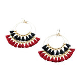 Double Tassel Hoop Earrings | Red, Black | Indie Collection | Handmade Fashion Jewelry | Wholesale | Marli and Lenny