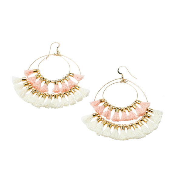 Double Tassel Hoop Earrings | Blush, White | Indie Collection | Handmade Fashion Jewelry | Wholesale | Marli and Lenny